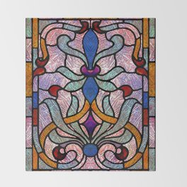 Art Nouveau Stain Glass Victorian Pastel Design Throw Blanket