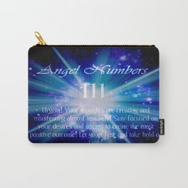 111 Angel Numbers Blue Motivational Affirmation Carry-All Pouch