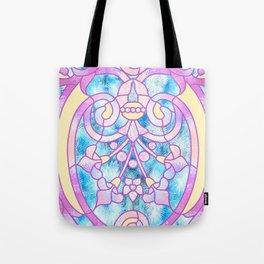 Art Nouveau Blue Pink and Yellow Batik Design Tote Bag