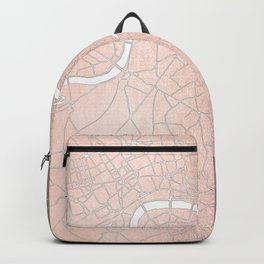 RoseGold on White London Street Map II Backpack