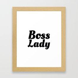 Boss Lady in Cursive Black Framed Art Print