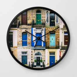 Colorful doors Wall Clock