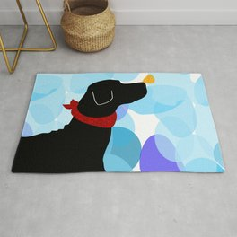 Black Labrador Retreiver Dog Print Rug