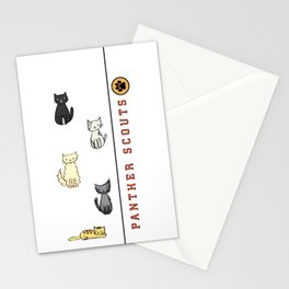 Five Cats All in a Row - Panther Scouts Characters Stationery Cards