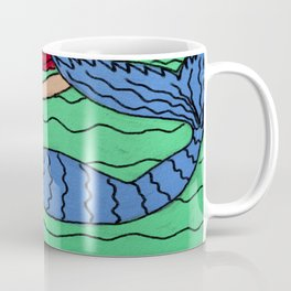 Red Haired Mermaid Abstract Digital Painting  Coffee Mug