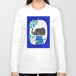 elephant with raindrops in blue watercolor illustration Long Sleeve T-shirt