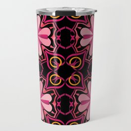 Lyrical Love Mandala Tiled - Pink Black Travel Mug