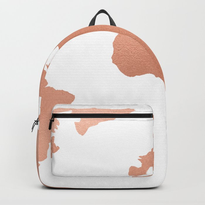 World Map Rose Gold Bronze Copper Metallic Backpack