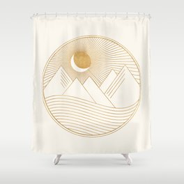 Golden Sunset Landscape with Mountains Shower Curtain