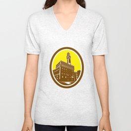 Tower of Palazzo Vecchio Florence Low Woodcut Unisex V-Neck