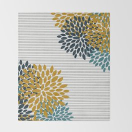 Floral Blooms and Stripes, Navy Blue, Teal, Yellow, Gray Throw Blanket