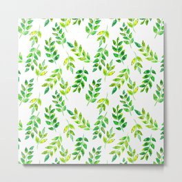 Watercolor palm leaves illustration Metal Print