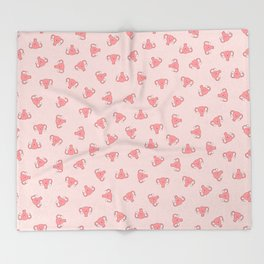 Crazy Happy Uterus in Pink, small repeat Throw Blanket