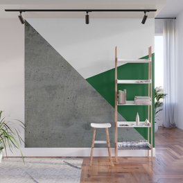Concrete Festive Green White Wall Mural