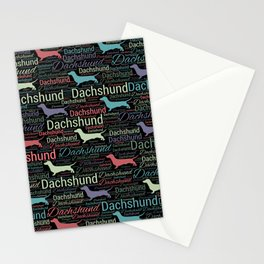 Dachshund silhouette and word art pattern Stationery Cards
