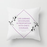 courage Throw Pillows featuring Courage by Heart of Hearts Designs