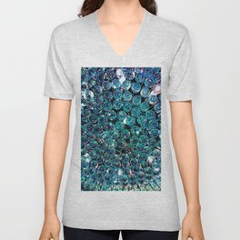 Turquoise Teal Crystals  Unisex V-Neck