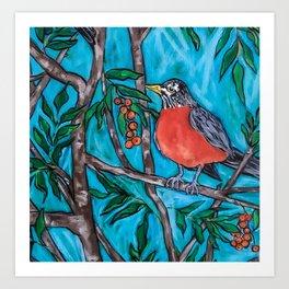 Robin Redbreast in the Mountain Ash Art Print