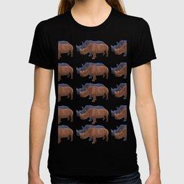 Rhinos Blue Orange Pattern T-shirt