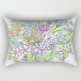 arrangement of flowers in pastel shades on a white background . illustration Rectangular Pillow