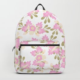 Pink coral green hand painted floral illustration Backpack