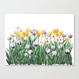 Tulip Watercolor Art, Yellow Flowers Painting, Purple Flowers, Garden Art Canvas Print