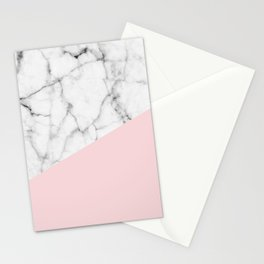 Real White Marble Half Powder Blush Pink Stationery Cards