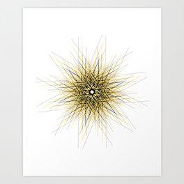 Bright mustard yellow mandala star Art Print