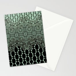 floral border with geo mix in light steel Stationery Cards