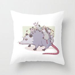 Mama Possum Throw Pillow