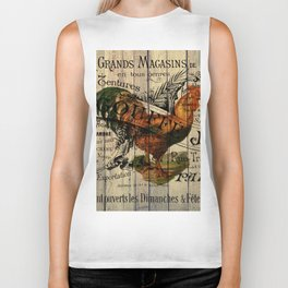 vintage typography barn wood shabby french country poulet chicken rooster Biker Tank
