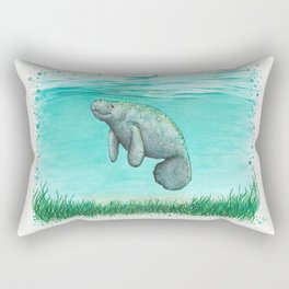 """""""Mossy Manatee"""" by Amber Marine ~ Watercolor & Ink Painting, (Copyright 2016) Rectangular Pillow"""
