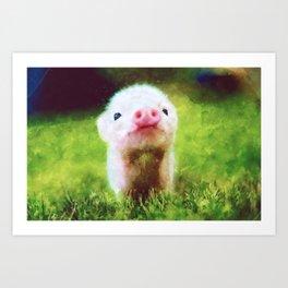 CUTE LITTLE BABY PIG PIGLET Art Print