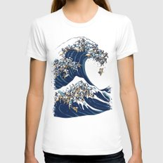 The Great Wave of Pug MEDIUM Womens Fitted Tee White