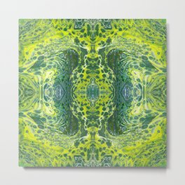 Psycho - Sea Turtle Illusions Swimming in a Yellow Happy Place by annmariescreations Metal Print