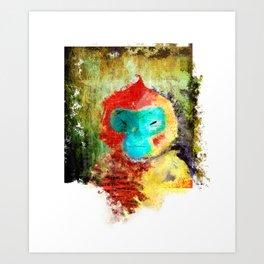 Blue Faced Monkey Art Print