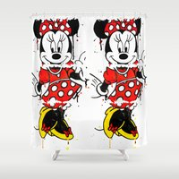 minnie Shower Curtains featuring Minnie Mashed by Dave Seedhouse.com