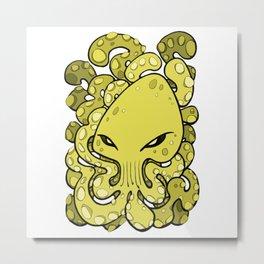 Octopus Squid Kraken Cthulhu Sea Creature - Meadow Lark Yellow Metal Print