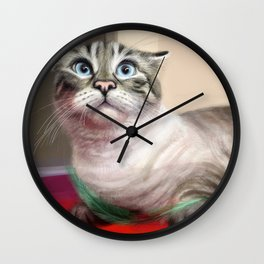 Cat Surprised Funny Animals with Feather Siamese Lynx-Point Wall Clock
