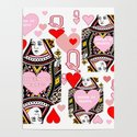 RED &  PINK QUEEN OF HEARTS CASINO ART by sharlesart