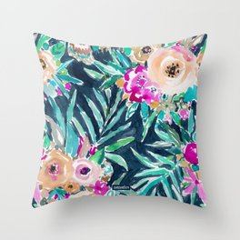 SO CASUAL Dark Tropical Palm Floral Throw Pillow