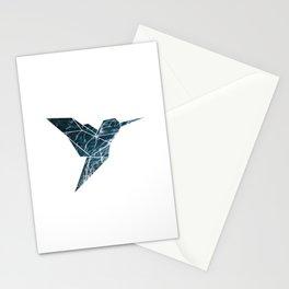 Geometric Hummingbird, Blue Hummingbird Art Stationery Cards