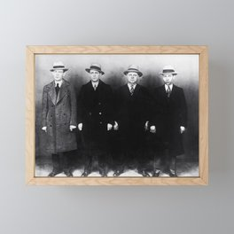 The Syndicate - 'Lucky' Luciano & New York gangsters Ed Diamond, Jack Diamond, & Fatty Walsh black and white photography / photographs Framed Mini Art Print