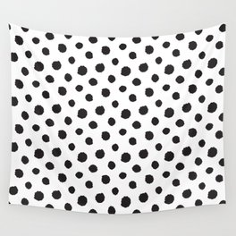 Minimal - black polka dots on white - Mix & Match with Simplicty of life Wall Tapestry