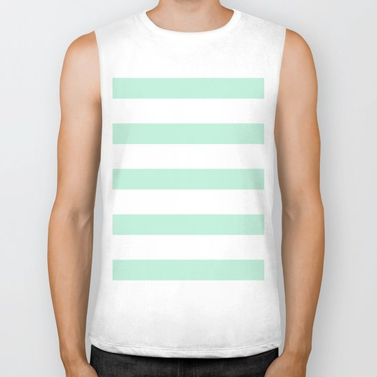 Maritime - Mint green and White stripes-horizontal Biker Tank