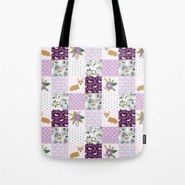 Corgi Patchwork Print - purple ,florals , floral, spring, girls feminine corgi dog Tote Bag