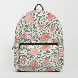 Gentle roses with green leaves on light background Backpack