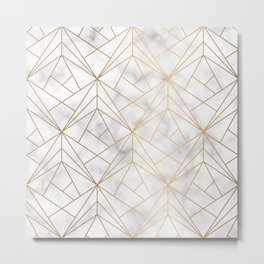 Geometric Gold Pattern on Marble Texture Metal Print