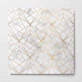 Geometric Gold Pattern on Marble Texture Metal Print