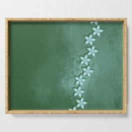 Beautiful blue flowers and green grunge texture Serving Tray